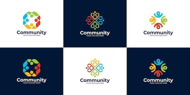 팀 또는 그룹을위한 사람 및 커뮤니티 로고 디자인 세트