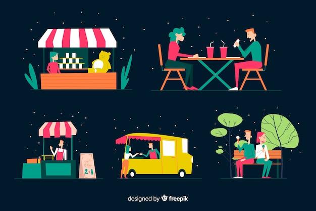Набор людей на ночной ярмарке