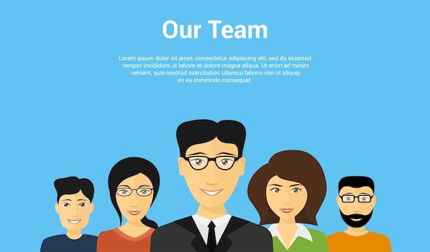 Набор аватаров людей, концепция стиля бизнеса или команды разработчиков