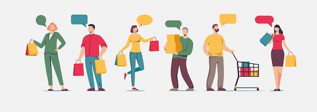 파란색 배경에 고립 된 가방과 함께 쇼핑 플랫 문자를 들고 사람들의 집합