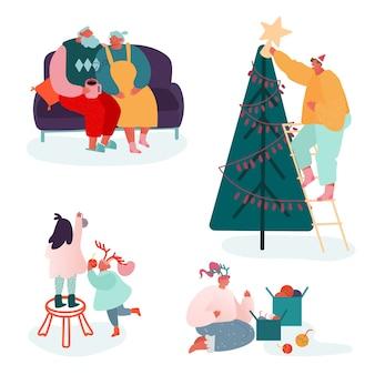 Набор персонажей людей, празднующих веселый рождественский сезон и зимний новый год. семья родителей и детей украшают елку, поют колядки, упаковывают подарки на сцене камина.