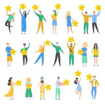 金の星を保持している人々の文字のセット。男性と女性は、サービスとユーザーエクスペリエンスを評価します。コンテストの審査員。肯定的なレビュー、良いフィードバック、ランキング。漫画イラスト
