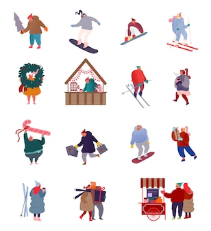 Набор персонажей людей праздничные сцены на рождественской ярмарке, зимние виды спорта, сноуборд, лыжи, отдых на свежем воздухе. мужчина и женщина покупают подарки.