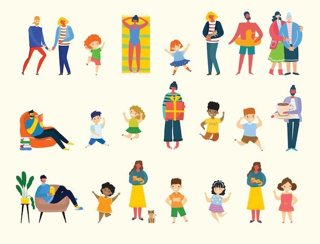 다른 표지판을 가진 사람, 어린이, 남성 및 여성의 집합입니다. 콜라주 및 일러스트레이션을 위한 벡터 그래픽 개체입니다. 현대적인 다채로운 평면 스타일입니다.