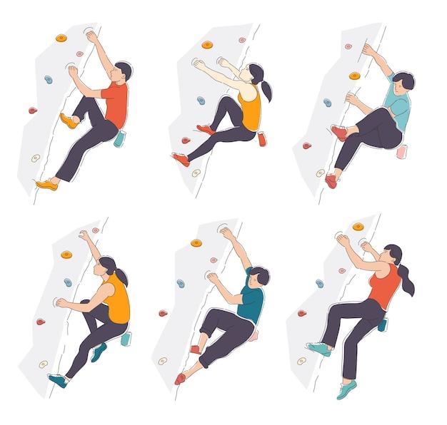 白い背景で隔離のクライミングジムの壁に登る人々のセット。
