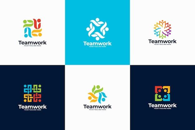 人々のコミュニティのロゴデザインのセット