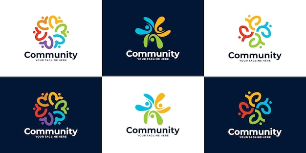 人々のコミュニティのロゴまたは診療所のロゴデザインのセット