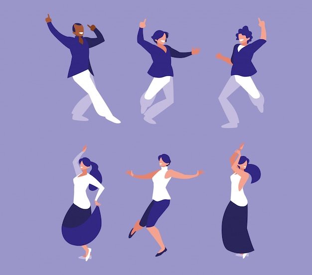 ダンスパーティー、ダンスクラブ、音楽、ナイトライフの人々のセット