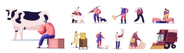 家畜の飼養、乳牛、羊の剪毛、家畜の干し草の準備など、農業の仕事をしている人々のセット。牛を扱う男性と女性の農家のキャラクター。漫画のベクトル図