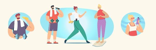 Набор людей, занимающихся спортом, тренировками, упражнениями, спортивной деятельностью, мужскими и женскими персонажами в тренировке спортивной одежды с весом и гантелями, здоровым образом жизни, тренировками в тренажерном зале. векторные иллюстрации шаржа