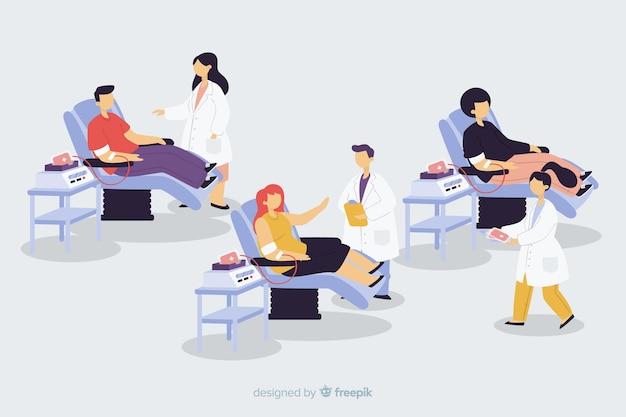 혈액을 기증하는 사람들의 집합