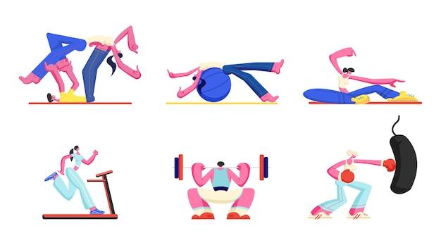 Набор людей заниматься фитнесом, аэробикой, спортивной деятельностью. мультфильм плоский иллюстрация