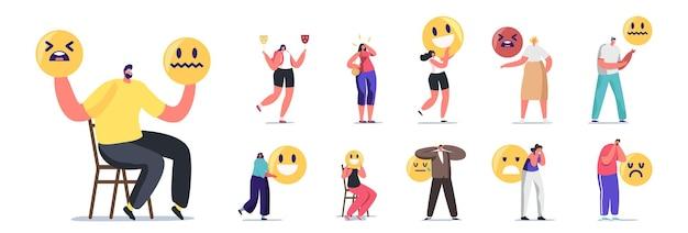Набор людей выражают разные эмоции. мужские и женские персонажи с желтыми улыбками чувствуют счастье, печаль или тревогу, лицевые чувства, изолированные на белом фоне. векторные иллюстрации шаржа