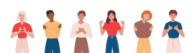 Набор людей, выражающих положительные эмоции, улыбаясь, делая жесты и обнимая себя. понятие любви к себе и принятия себя. flst иллюстрации шаржа