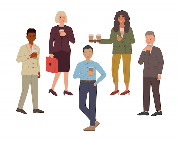 コーヒーと笑顔を飲む人々のグループのセット。分離された漫画のキャラクター。