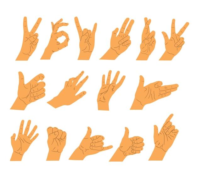 Набор рук людей. разные жесты.