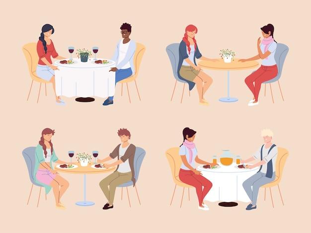 Множество людей, обедающих в ресторане