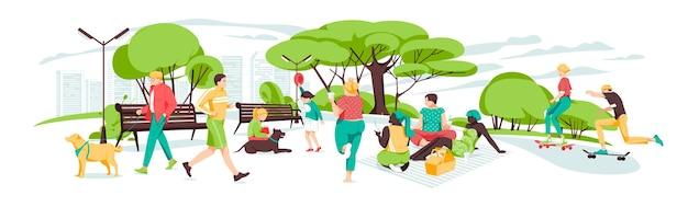 Множество людей, отдыхающих в парке
