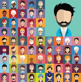 Set of people icons, avatars in flat style