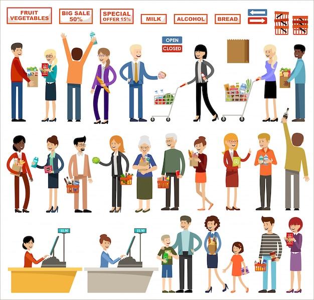 Набор людей в супермаркете на белом фоне. покупки, продукты, покупки
