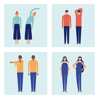 활동적인 휴식 시간에 사람들의 집합