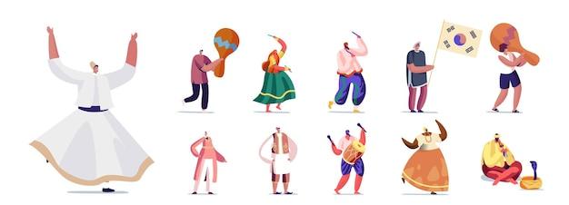 음악 악기와 정통 국가 의상을 입은 사람들의 집합입니다. 남성과 여성 캐릭터 춤, 음악 재생 및 흰색 배경에 고립 된 쇼를 수행합니다. 만화 벡터 일러스트 레이 션