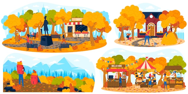 屋外の秋の公園の人々のセット