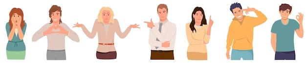 白い若い男性と女性に分離されたさまざまなジェスチャーを示すカジュアルな服装の人々のセット