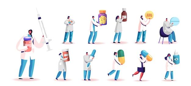 医療ツールと薬を持った医師の制服を着た人々のセット。白い背景で隔離の巨大な錠剤、錠剤、注射器またはスポイトを保持している小さな男性と女性のキャラクター。漫画のベクトル図