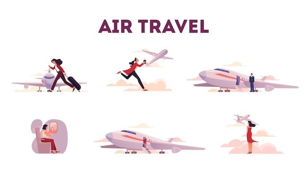 空港と飛行機の人々のセット。手荷物または飛行機に座っている観光客。旅行や休暇のアイデア。飛行機到着。図
