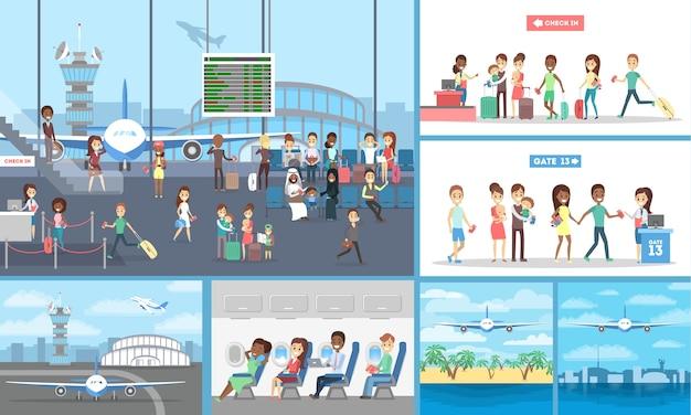 공항과 비행기에있는 사람들의 집합입니다. 수하물이 홀에서 대기하거나 비행기에 앉아있는 관광객. 바다 위의 비행.