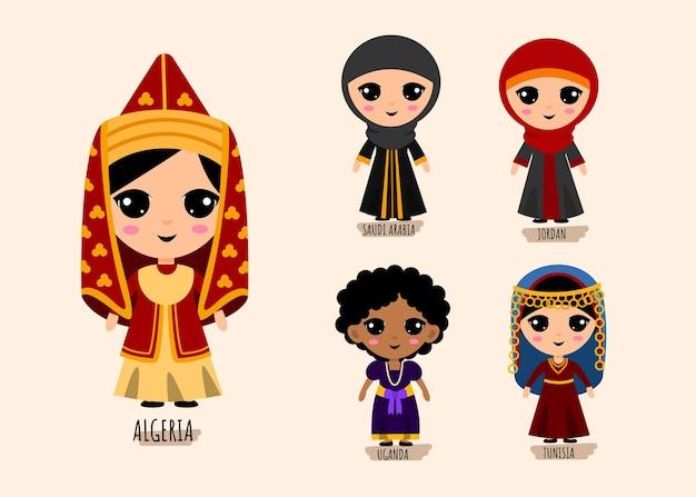 伝統的な西アジアの人々のセットの服の漫画のキャラクター、女性の民族衣装コレクションのコンセプト、孤立したフラットイラスト