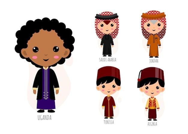 伝統的な西アジアの人々のセット服漫画のキャラクター、男性の民族衣装コレクションのコンセプト、孤立したフラットイラスト
