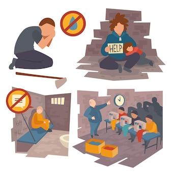困っている人々のセット、水不足で泣いているひざまずく男、刑務所の通信禁止でベッドに座っている囚人