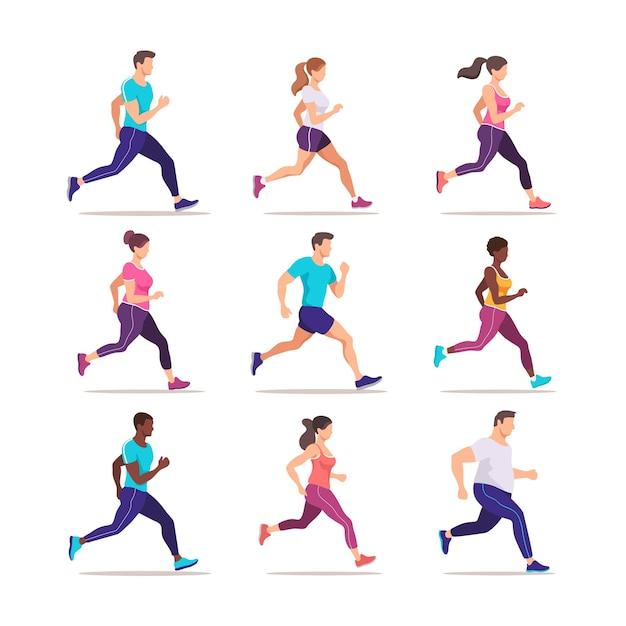 Набор людей, бегающих трусцой. группа бегунов в движении. подготовка к марафону. модный стиль иллюстрации.