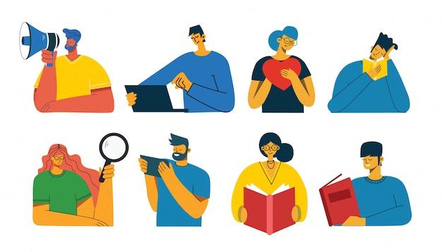 人のセット、男性と女性は本を読み、ラップトップで作業し、拡大鏡で検索し、コミュニケーションします。コラージュやイラストのグラフィックオブジェクト。