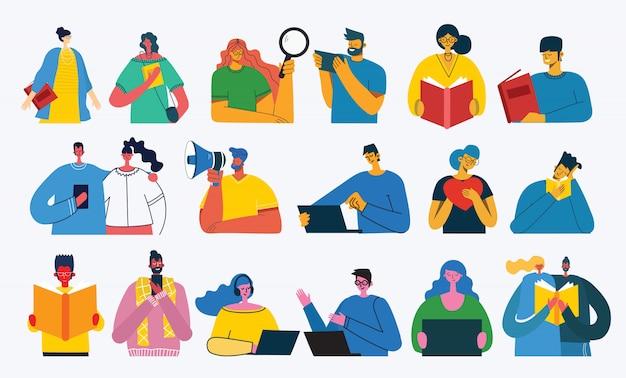 Множество людей, мужчин и женщин читают книги, работают на ноутбуке, ищут с лупой, общаются