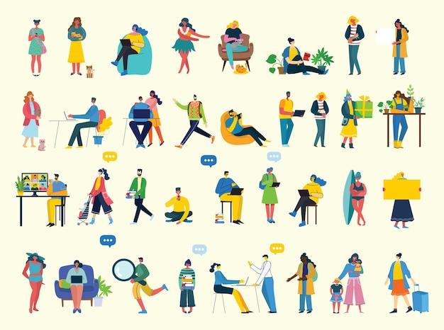 Набор людей, мужчин и женщин с разными знаками. современный красочный плоский стиль.