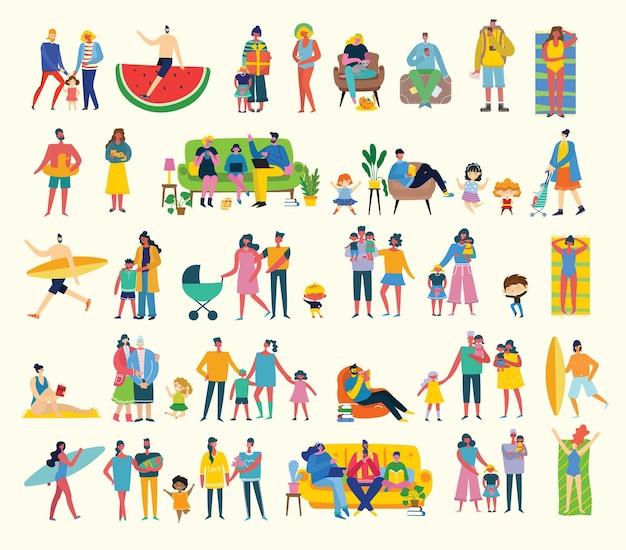 다른 표시를 가진 사람, 남성 및 여성의 집합입니다. 콜라주 및 일러스트레이션을 위한 벡터 그래픽 개체입니다. 현대적인 다채로운 평면 스타일입니다.
