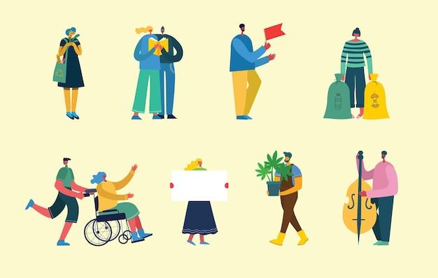 Набор людей, мужчин и женщин с разными знаками