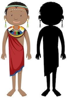 Набор персонажей африканских племен с его силуэтом