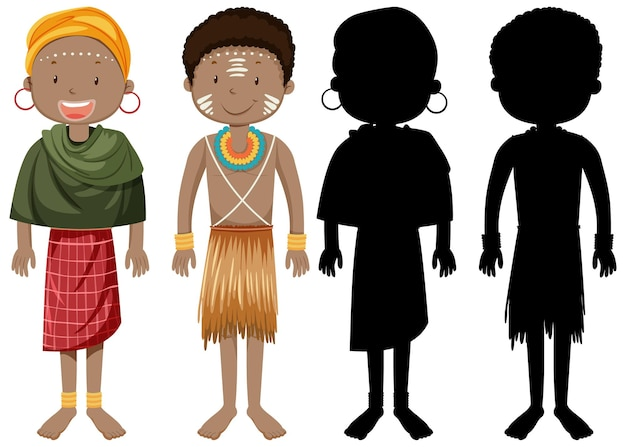 실루엣으로 아프리카 부족 캐릭터의 사람들의 집합