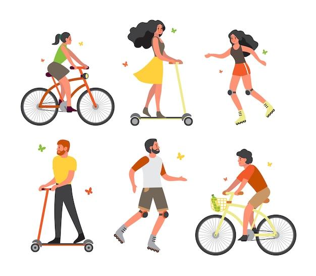 Набор людей на велосипеде, роликах и скутере. развлекаются и занимаются спортом в городском парке. летняя активность.