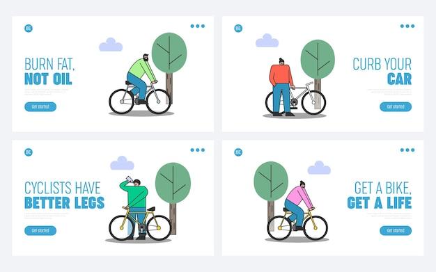 自転車に乗っている人のセット。健康的なライフスタイルのウェブサイトデザインのためのフィットネスとサイクリングのランディングページ