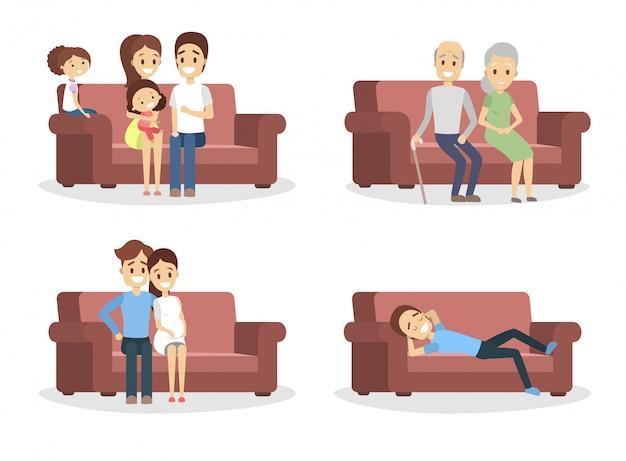 ソファの上の人々のセット。快適なソファーに座っている面白いキャラクター。リラクゼーションとルシア活動。図