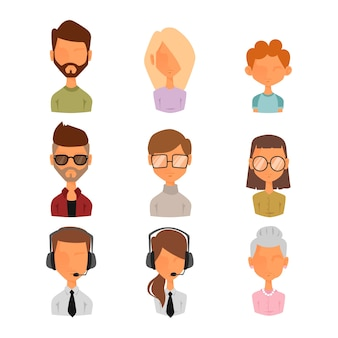 사람들이 초상화 얼굴 아이콘 웹 아바타 스타일의 집합입니다.