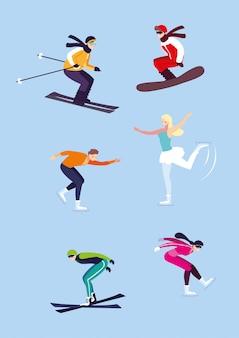 Набор людей, практикующих экстремальный зимний спорт
