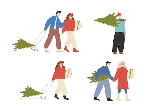 Набор людей, готовящихся и отмечающих зимние праздники во время пандемии в маске для лица.