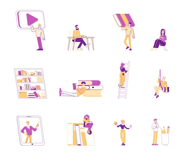 Набор людей, читающих книги иллюстрации