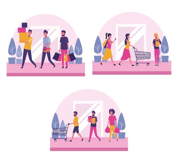 ショッピングする人々のセット